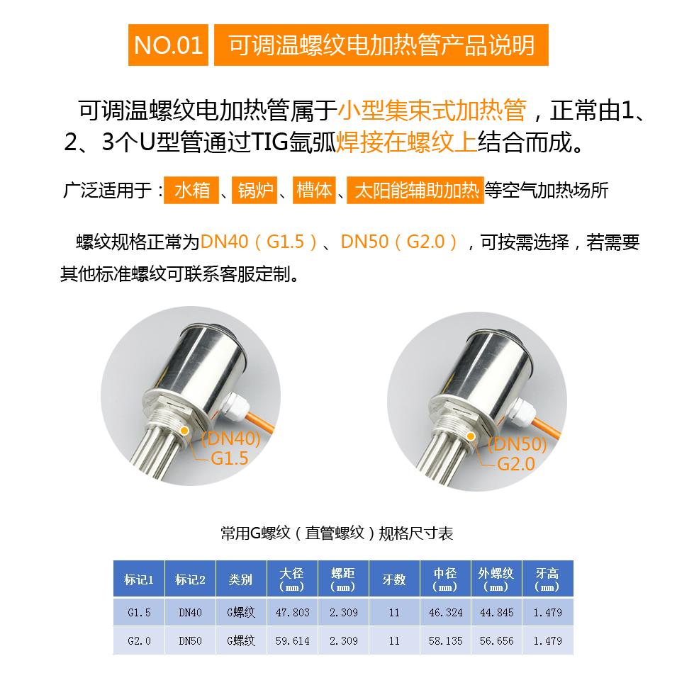 封闭式油槽用可调温螺纹电加热管产品说明
